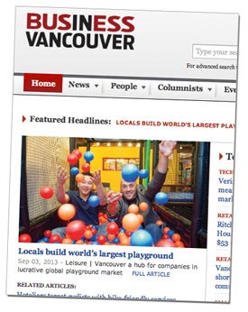 BIV Orca Orca Coast Playgrounds featured in Business In Vancouver Magazine